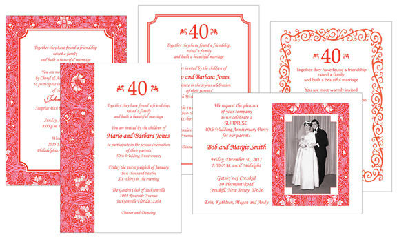 Assorted Ruby Anniversary Party Invitations