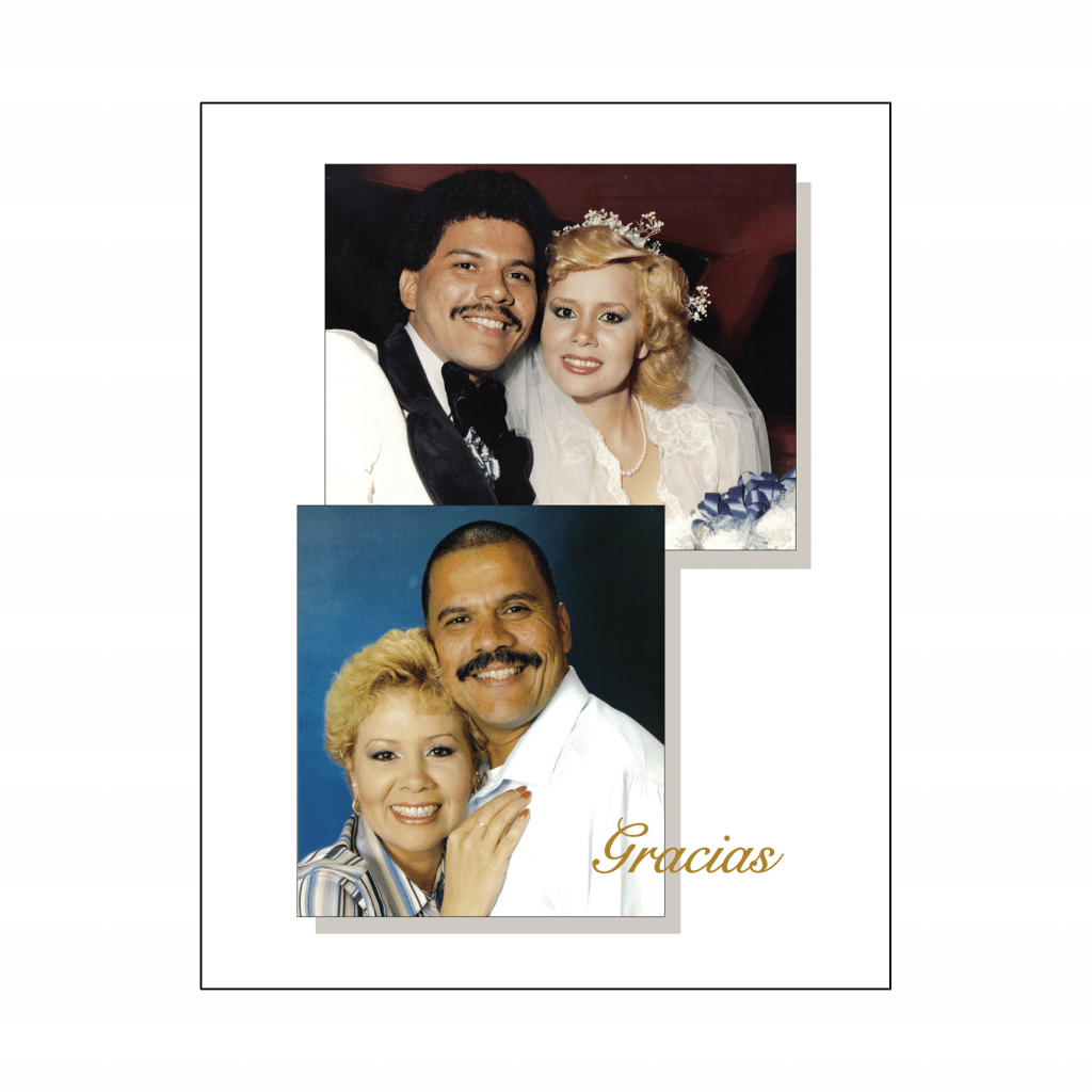 Cover of 25th Wedding Anniversary Party Thank You Card with Photo in Spanish