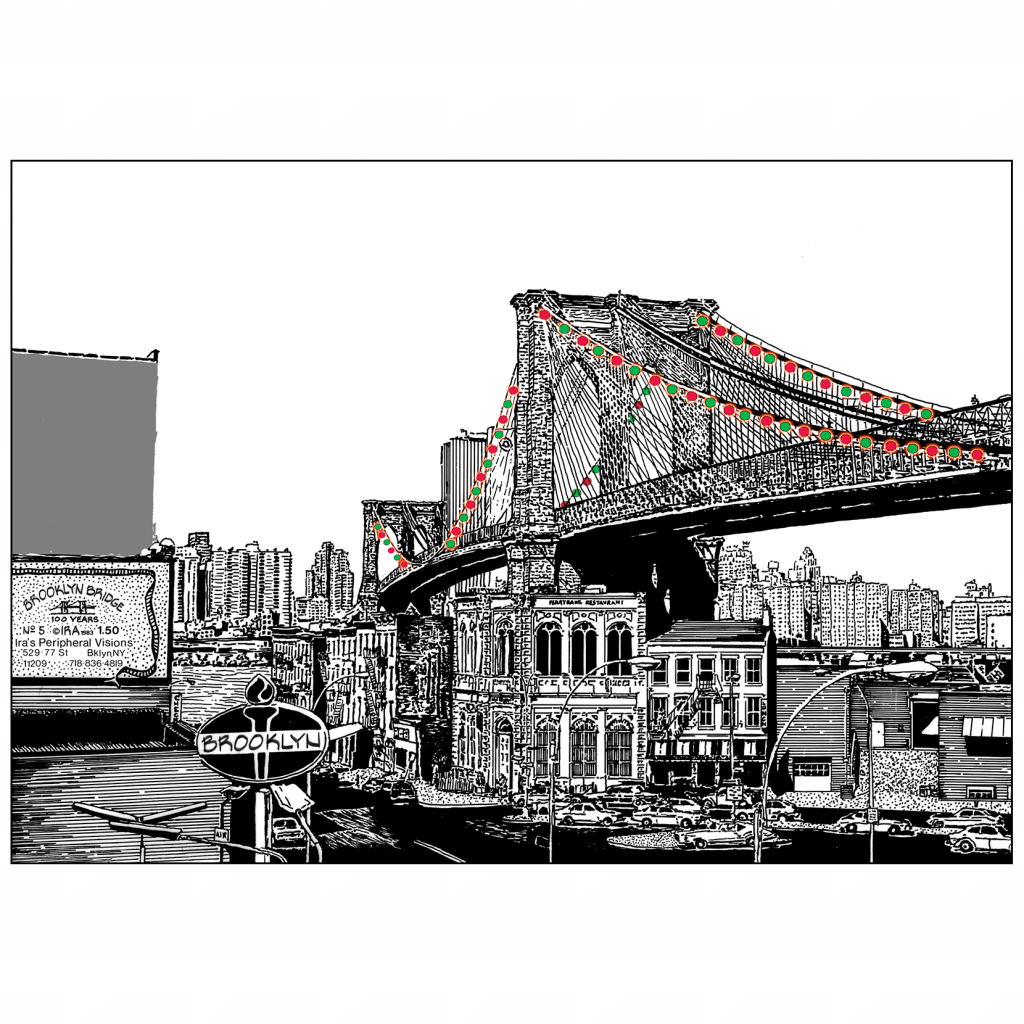 Front and Back Cover of Christmas Holiday Card - Brooklyn Bridge