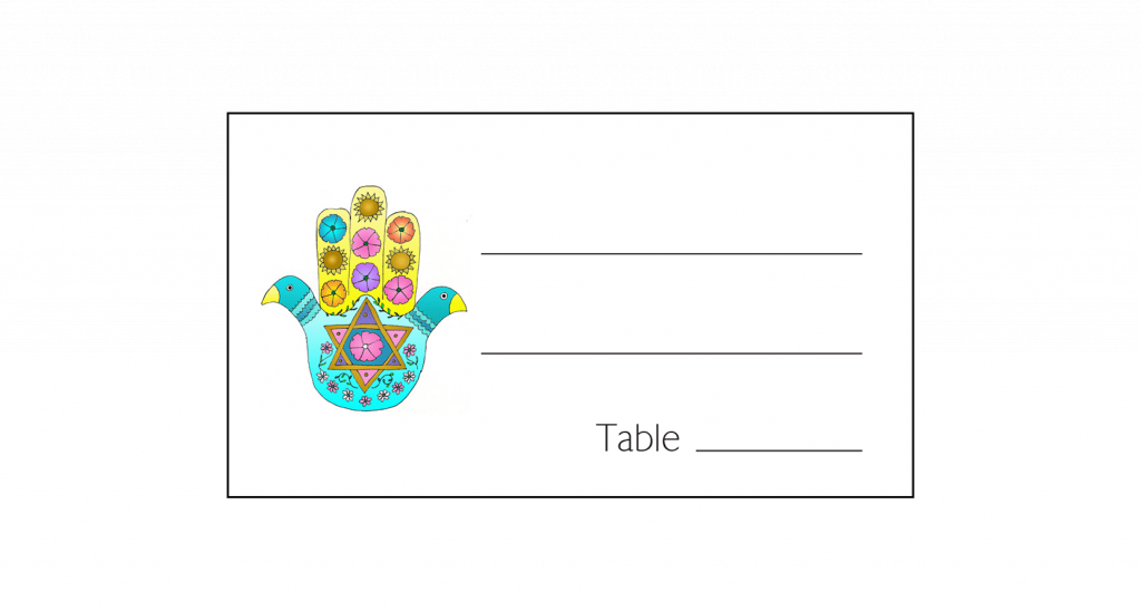 Place Card with Hamsa