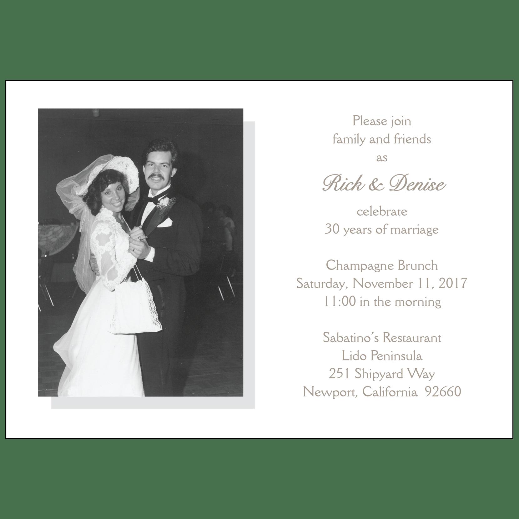30th Wedding Anniversary Invitations: 30th Wedding Anniversary Party Invitation, Style 2 Sample