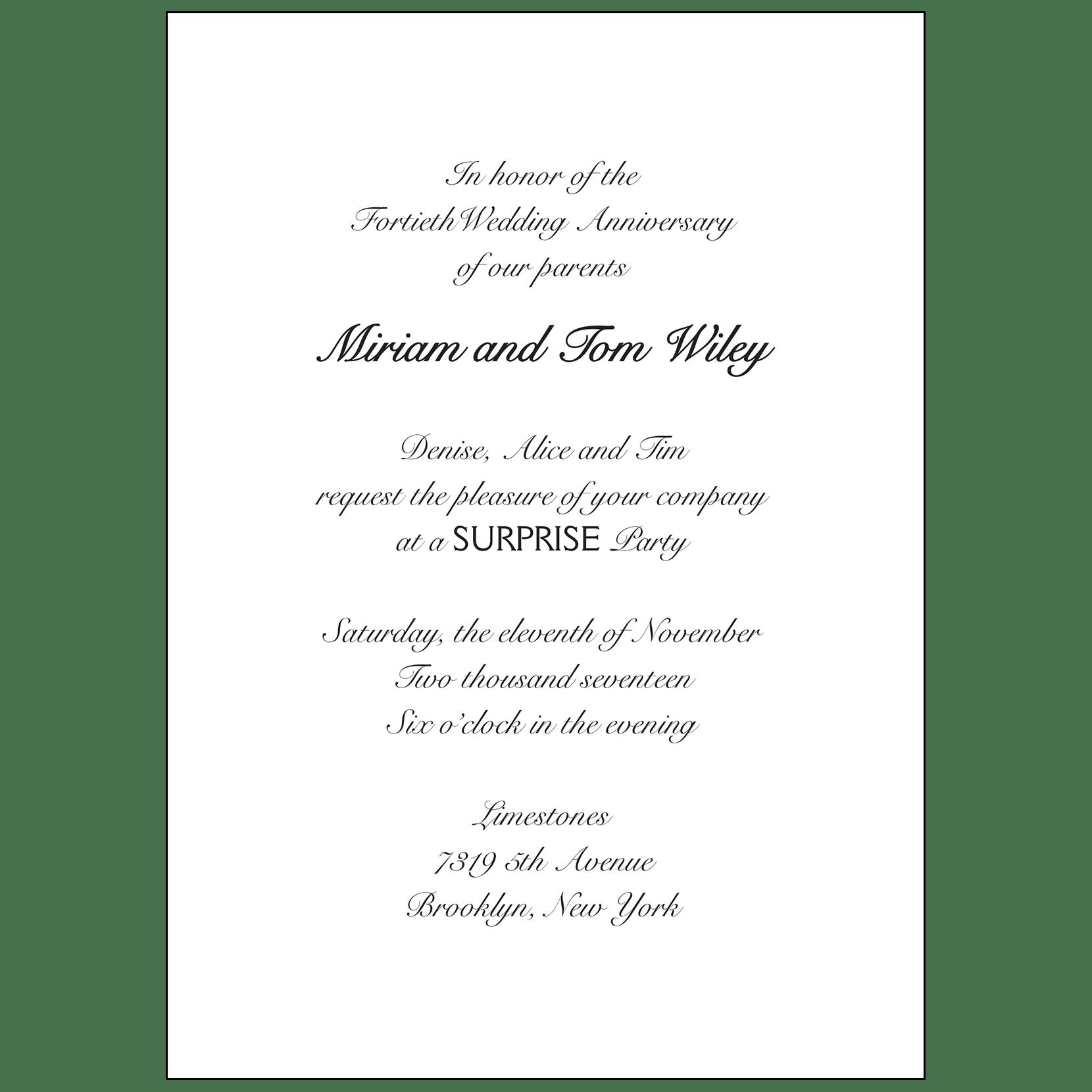 40th Wedding Anniversary Party Invitation, Style 1B – IPV Studio