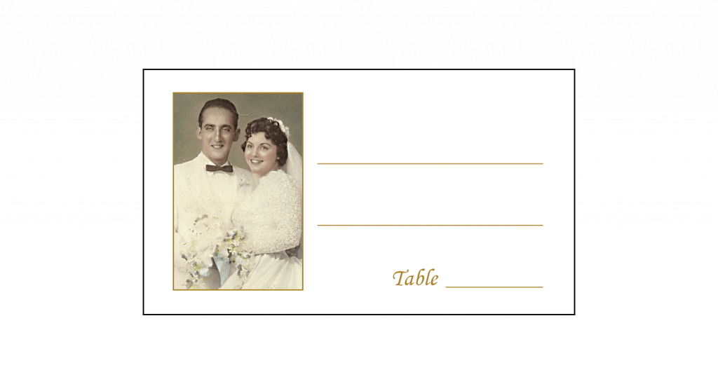 Place Card for 50th Wedding Anniversary Party with Photo