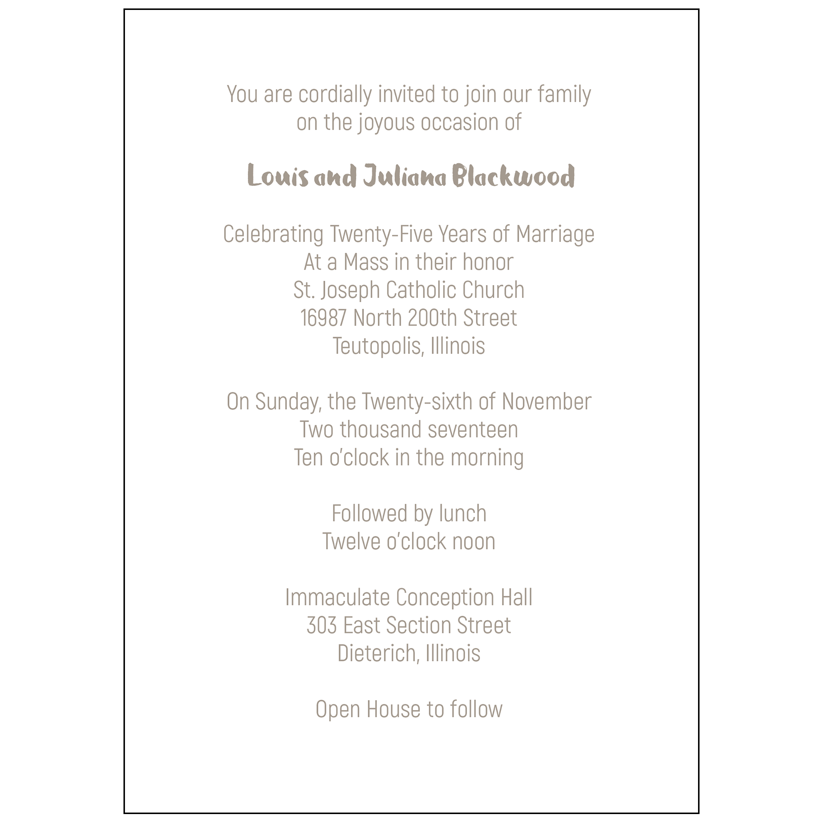 25th Wedding Anniversary Party Invitation, Style 1F – IPV Studio