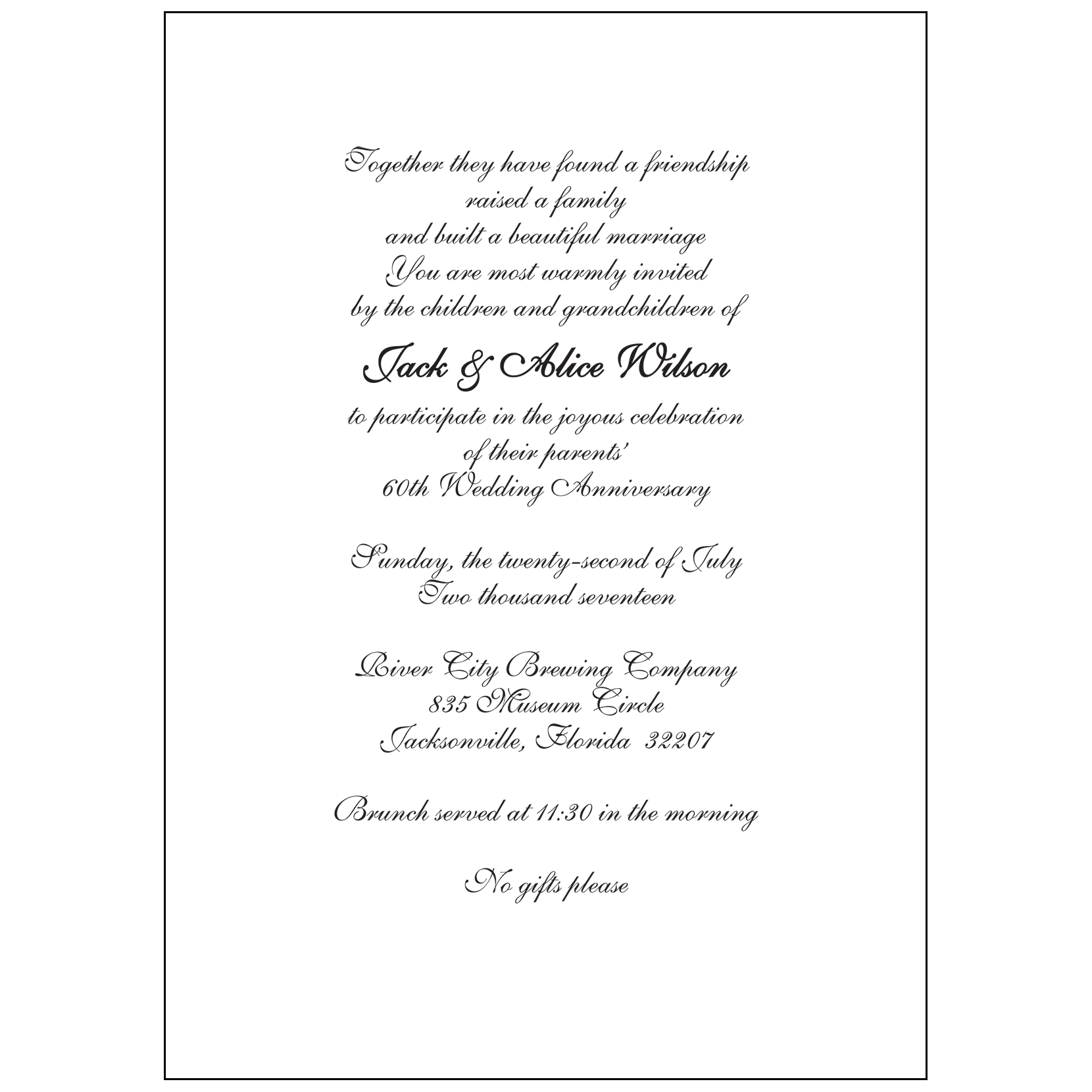 60th Wedding Anniversary Party Invitation, Style 1G – IPV Studio