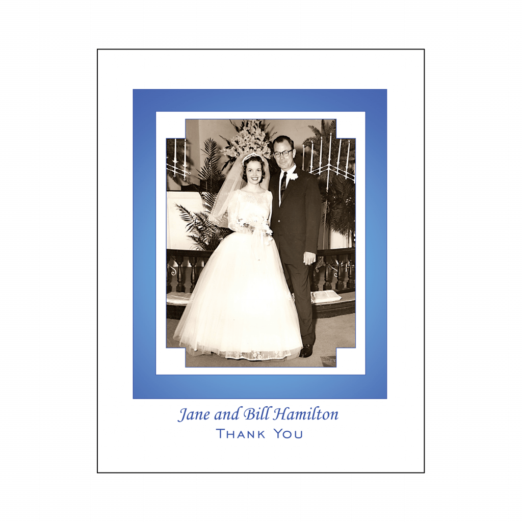 Cover of 45th Sapphire Wedding Anniversary Party Thank You Card with Photo