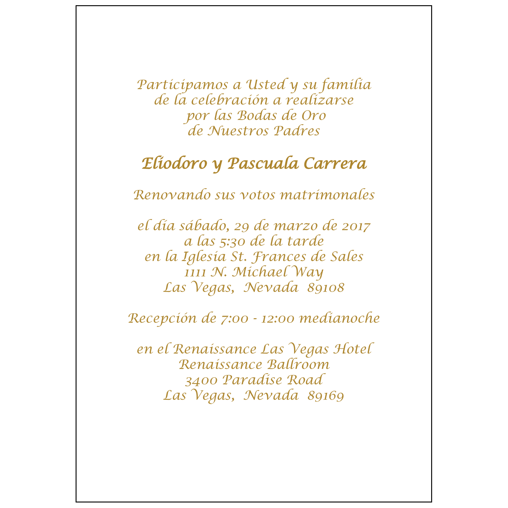 Spanish wedding anniversary party invitation style 1r ipv studio text inside invitation stopboris Images