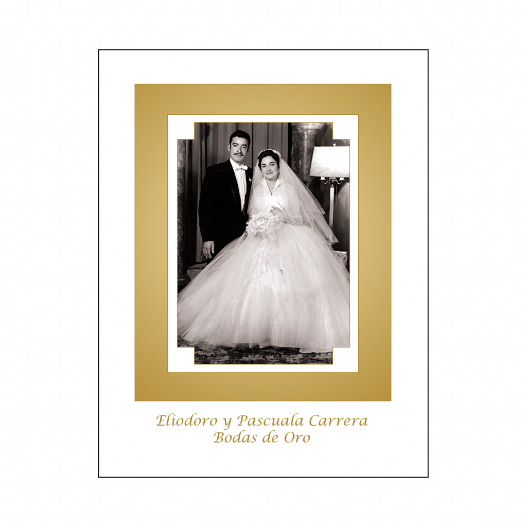 Cover of 50th Wedding Anniversary Party Thank You Card with Photo in Spanish