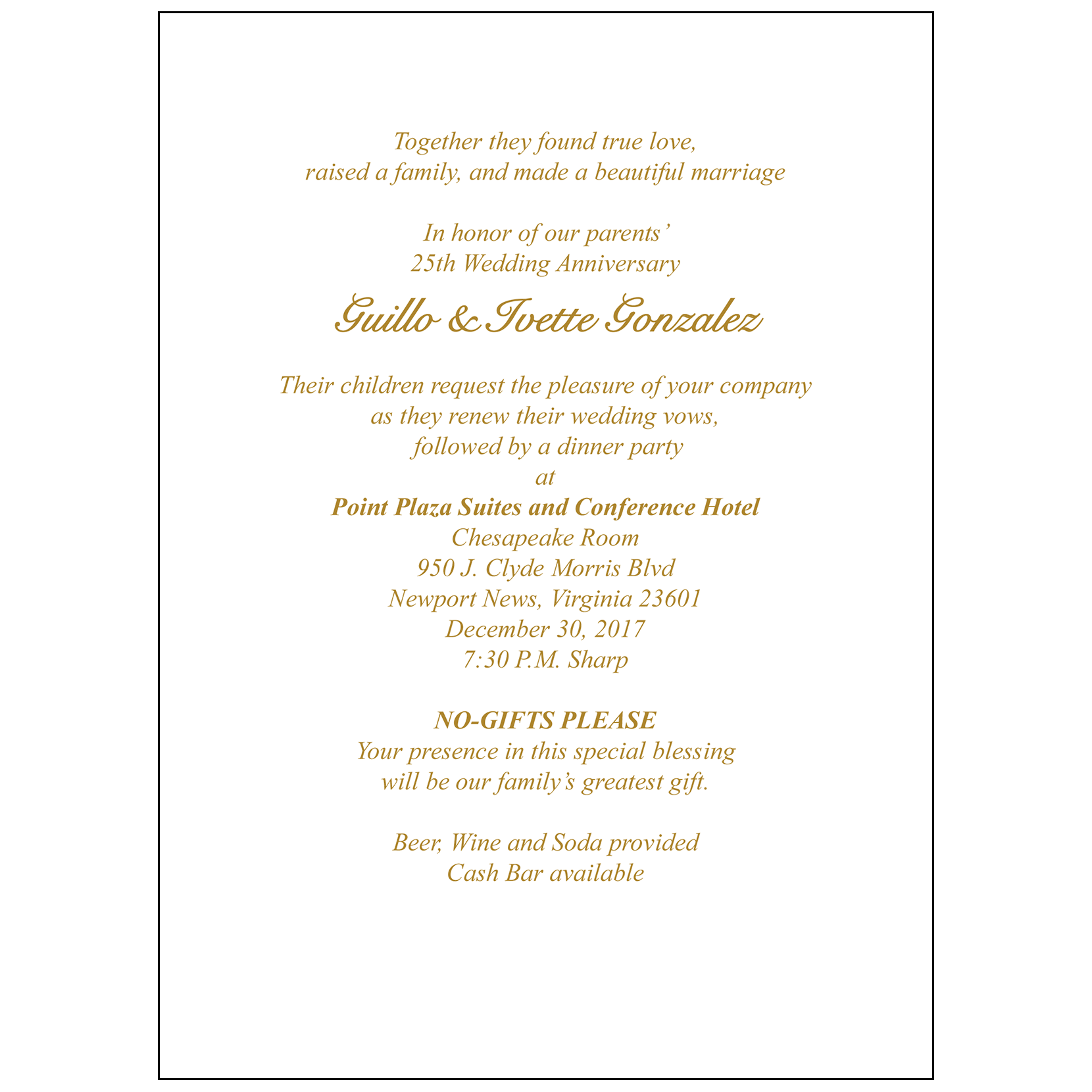 25th Wedding Anniversary Party Invitation, Style 1S – IPV Studio