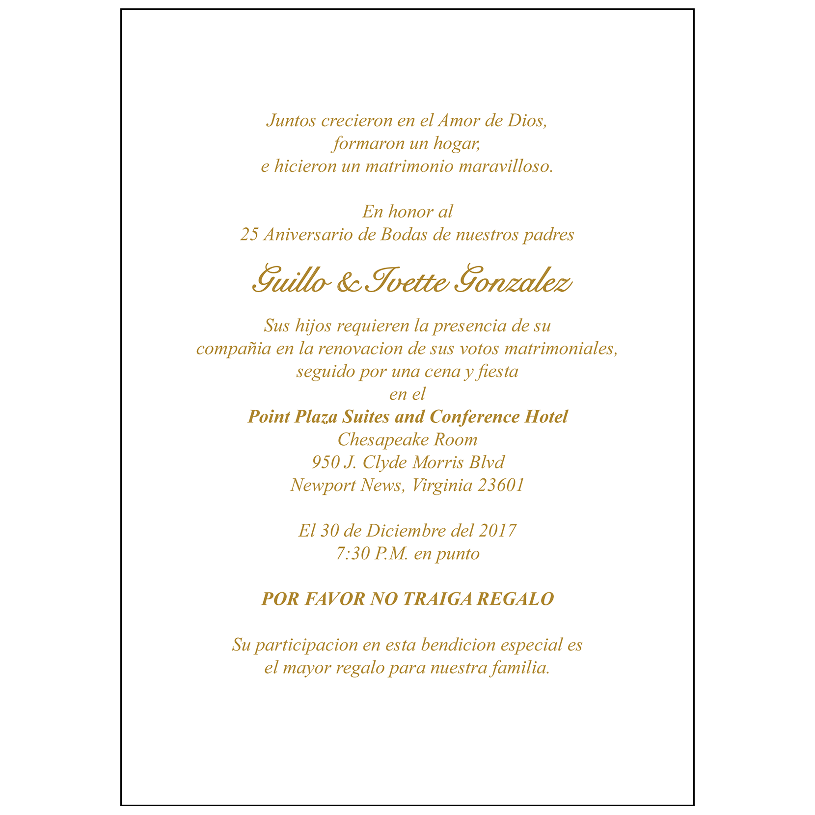 25th Anniversary Party Invitation, Style 1S Spanish – IPV Studio