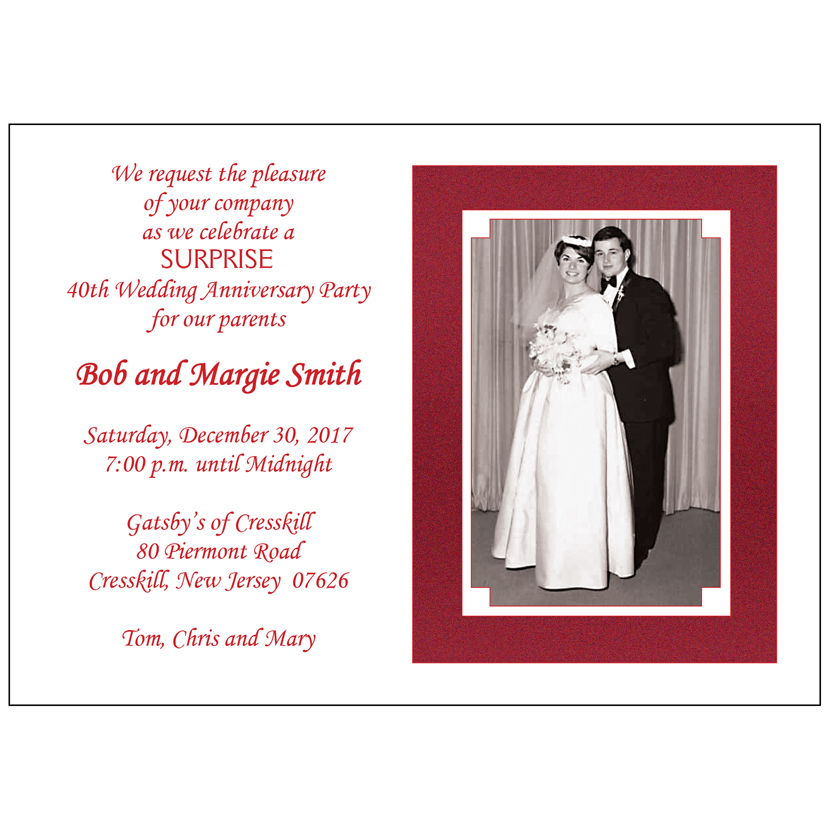 Anniversary Party Invitation, Style AP-001 – IPV Studio