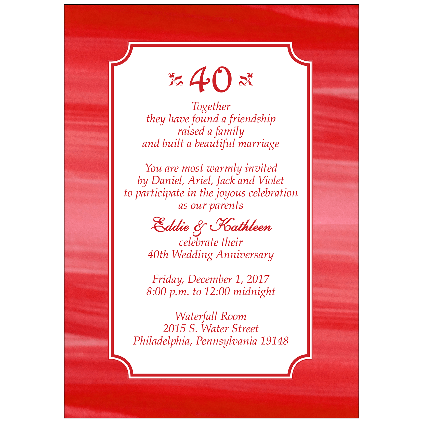 40th Wedding Anniversary.Anniversary Party Invitation Style Ap 003