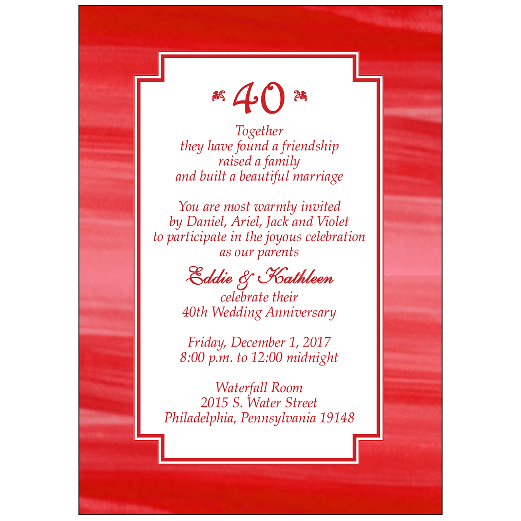Anniversary Party Invitation, Style AP-004 – IPV Studio
