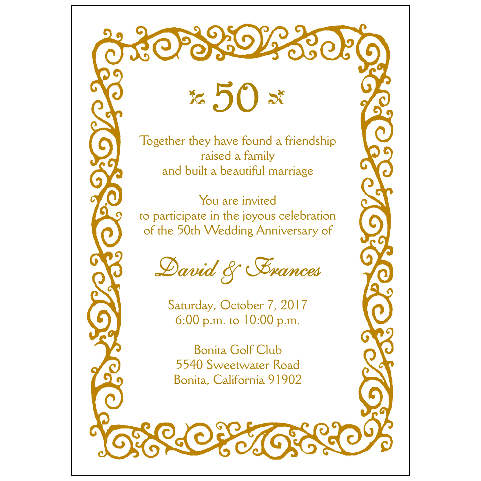 Anniversary Party Invitation Style AP 008
