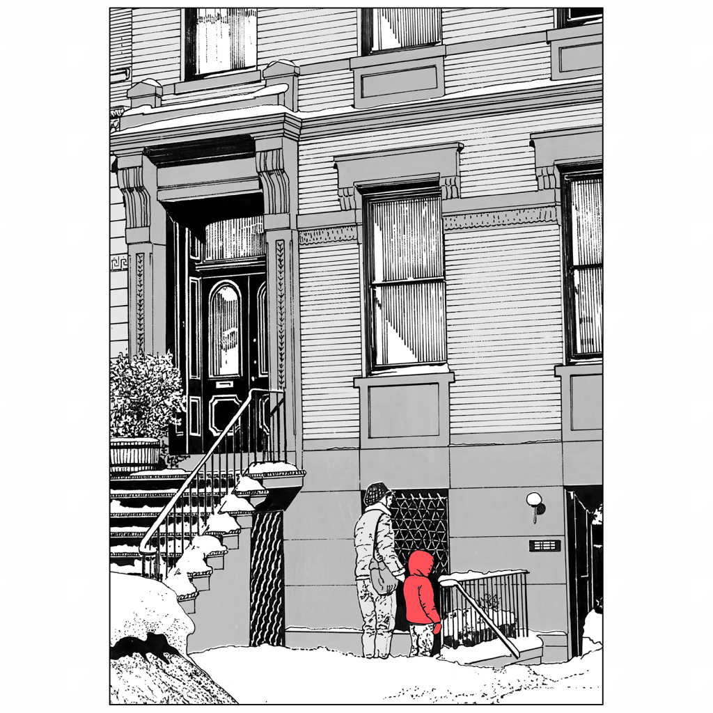 Back Cover of Christmas Holiday Card Brownstone Winter IV