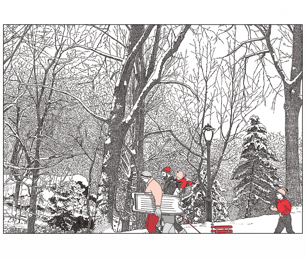 Front and Back Cover of Christmas Holiday Card Winter in the Park 2