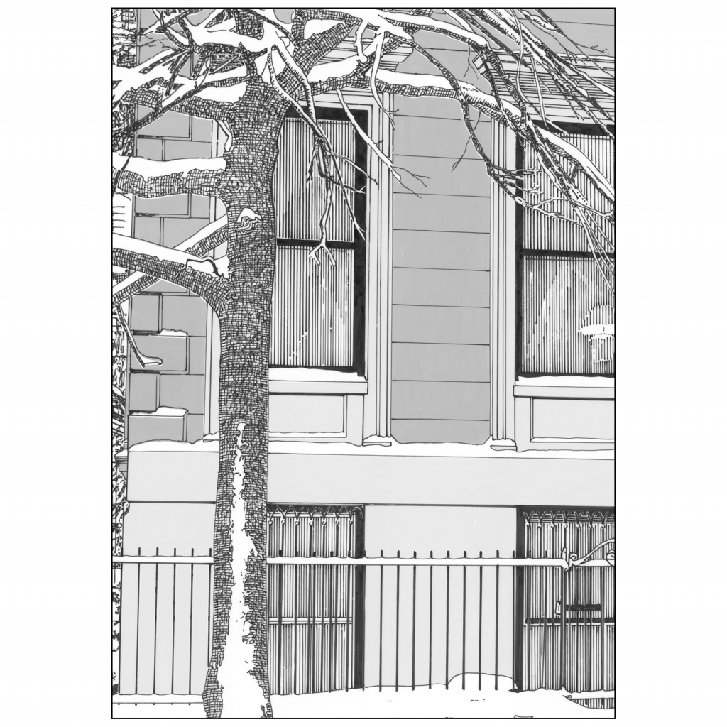 Back of Holiday Christmas Card - Brownstone Winter VI