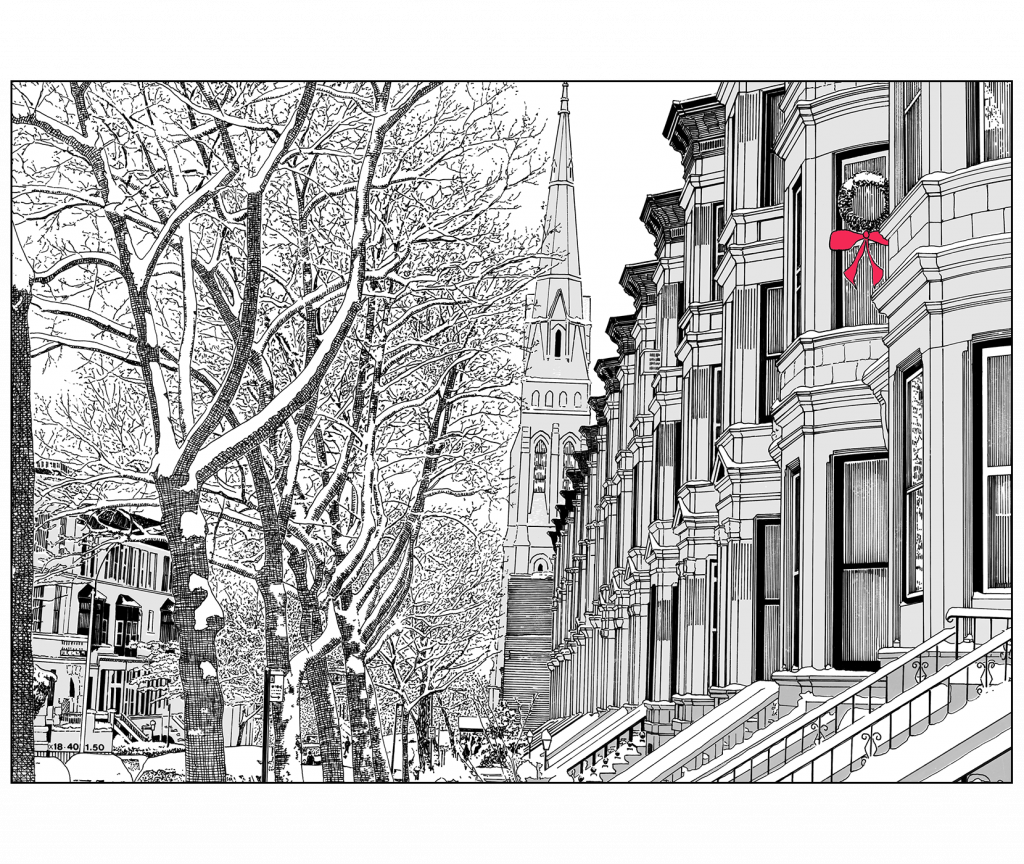 Front and Back Cover of Christmas Holiday Card Brownstone Winter VII