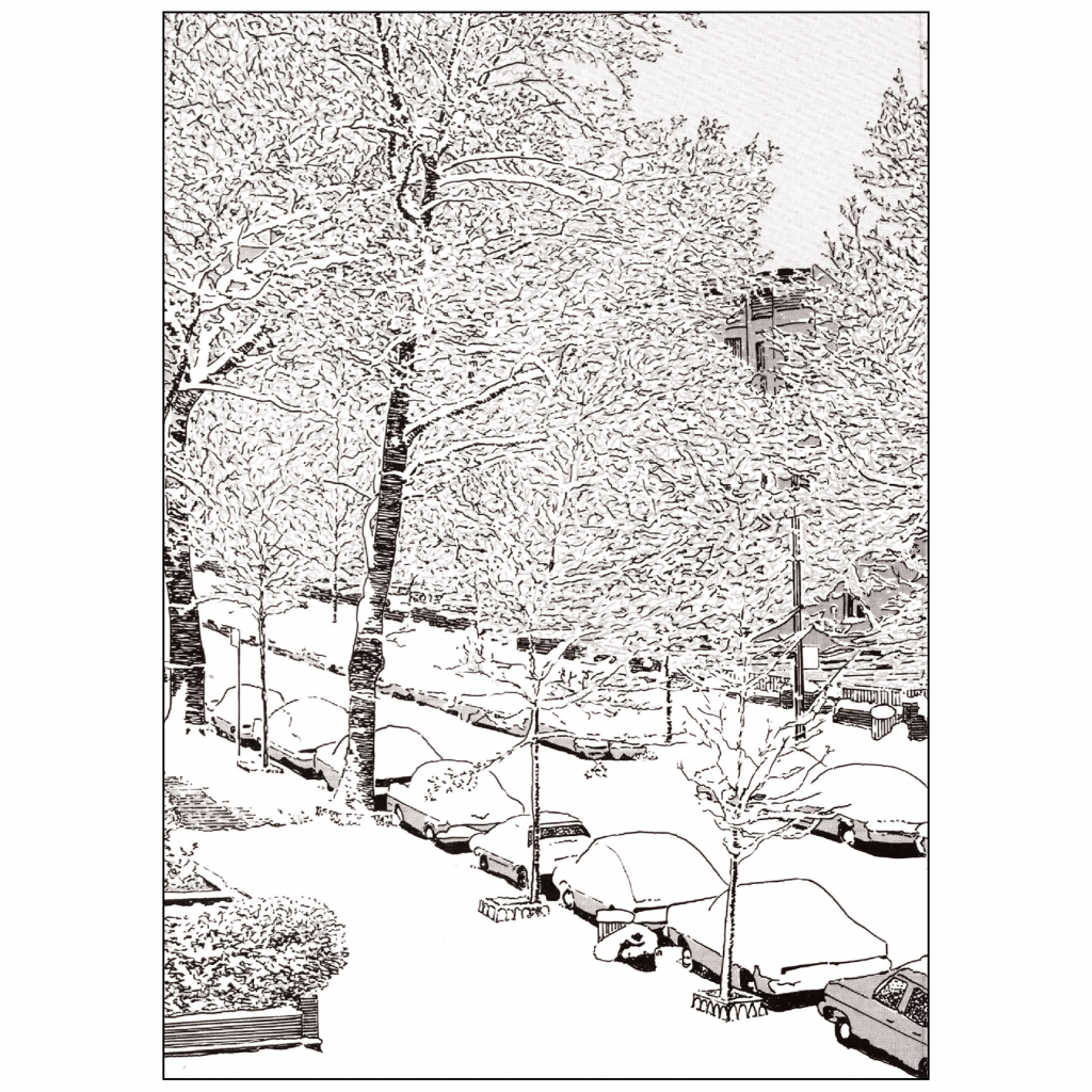 Back Cover of Christmas Holiday Card Snowy Street