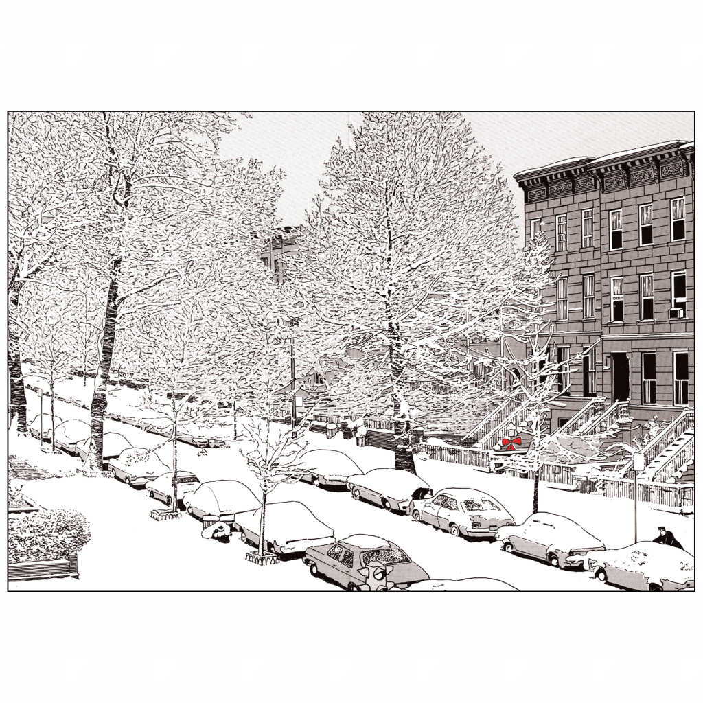 Front and Back Cover of Christmas Holiday Card Snowy Street