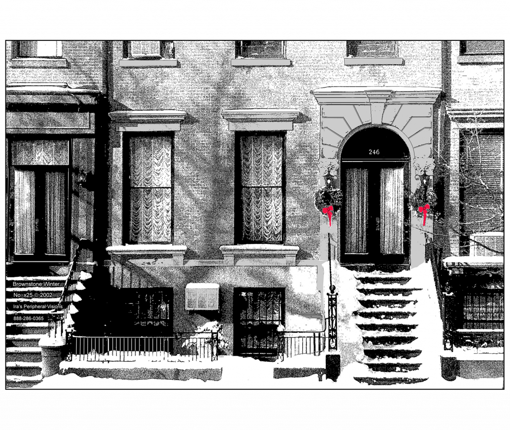 Front and Back Cover of Holiday Christmas Card - Brownstone