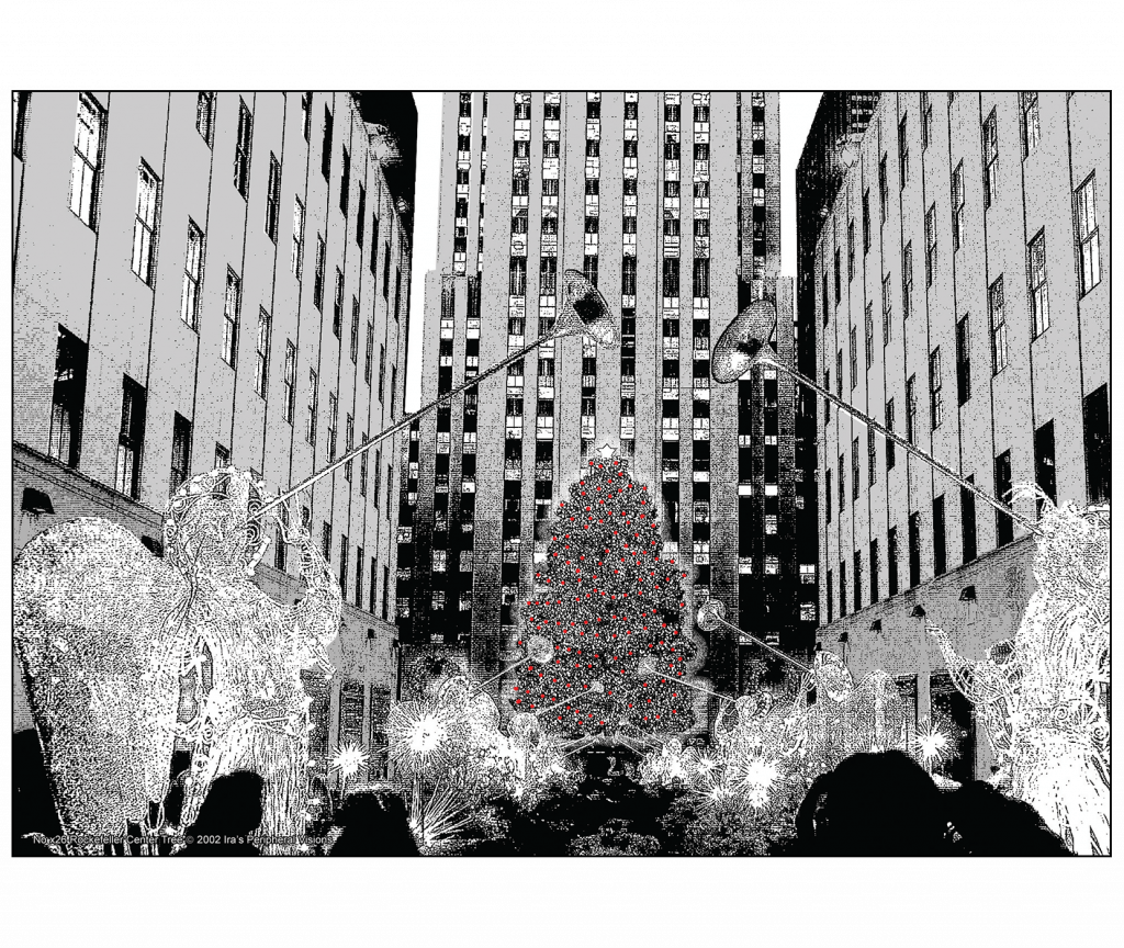 Cover and Back of Christmas Holiday Card - Angels at Rockefeller Center