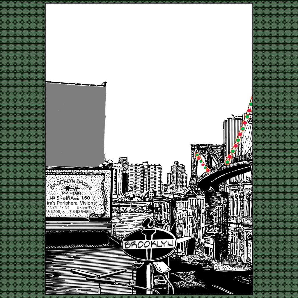 Back of Christmas Holiday Card - Brooklyn Bridge