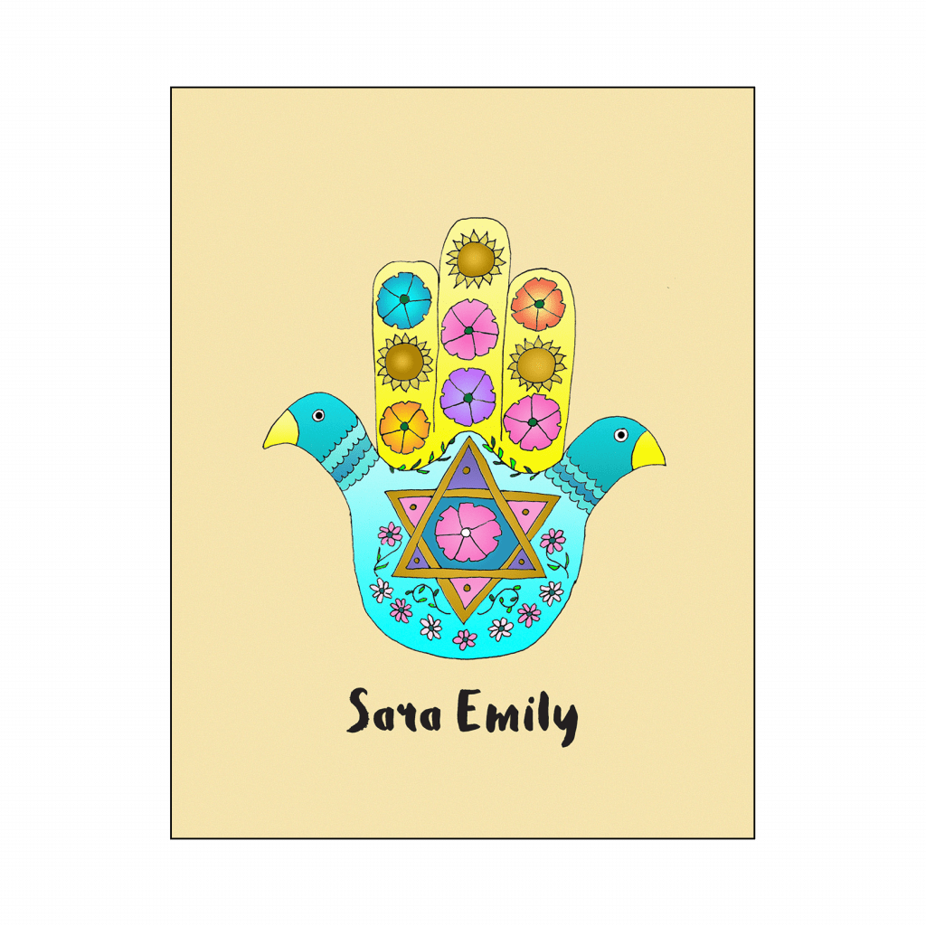 Cover of Thank You Card with Hamsa