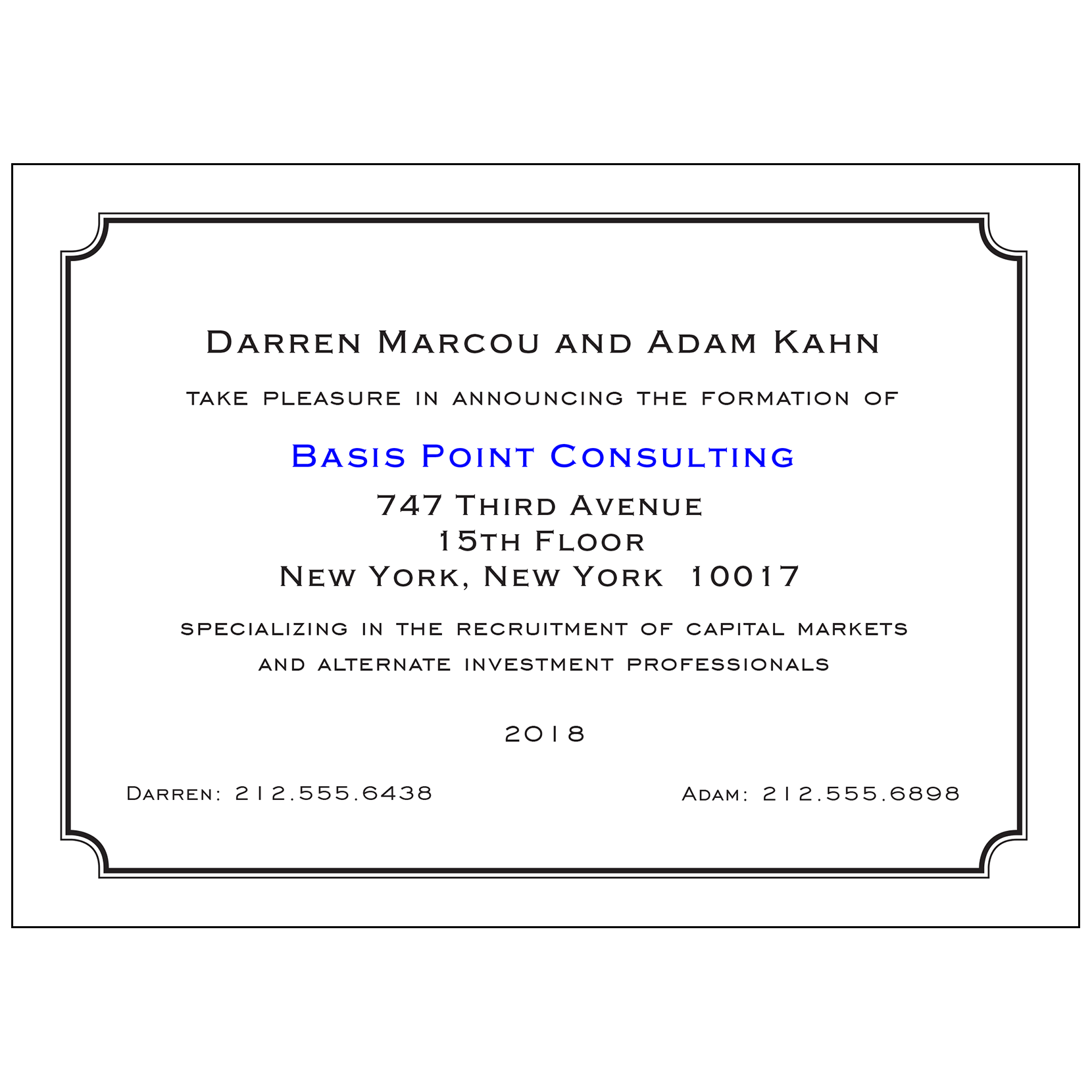 new business announcement cards