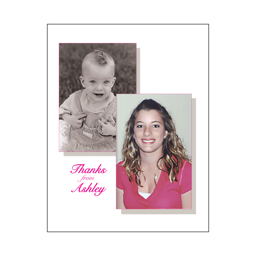 Sweet 16 Thank You Card with Baby Picture