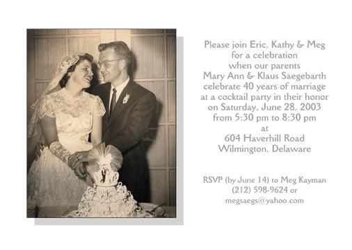 40th Wedding Anniversary Party Invitation Style 2 Sample