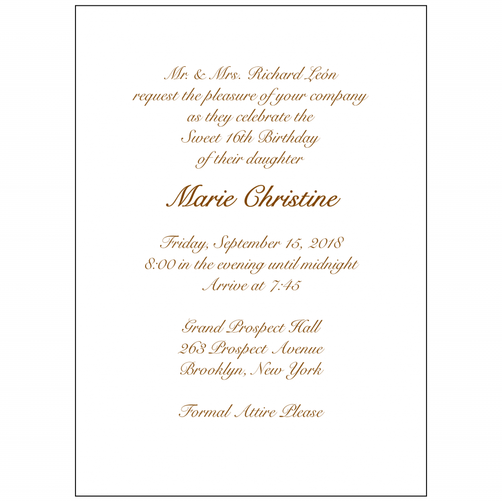 Text Inside Sweet 16 Invitation