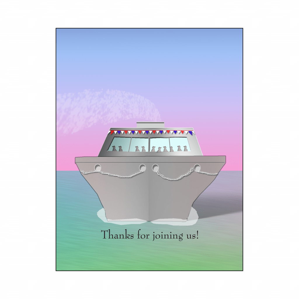 Cover of Cruise Party Thank You Card