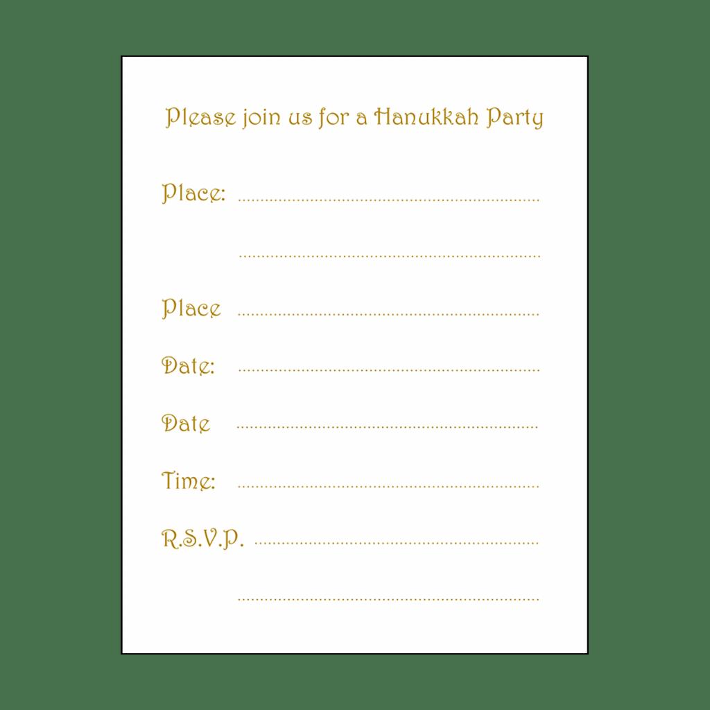 Fill-in Form for Hanukkah Party Invitation